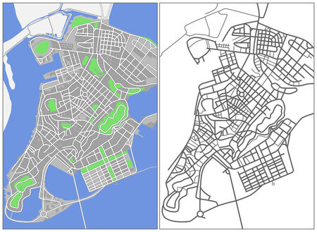 Illustration city map of Macao Vector