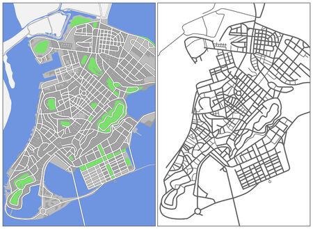 plat: Illustration city map of Macao Illustration