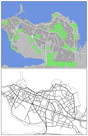 reykjavik: Mapa de la ciudad de ilustraci�n de Reykjavik