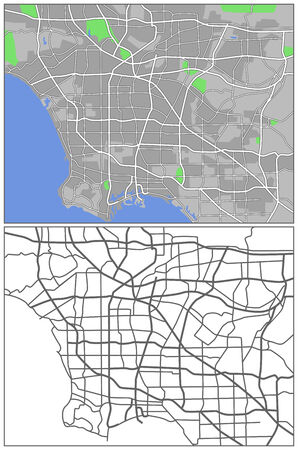 plat: Illustration city map of Los Angeles  Illustration
