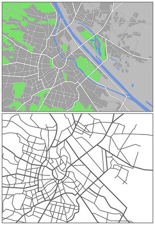 Illustration city map of Vienna Vector