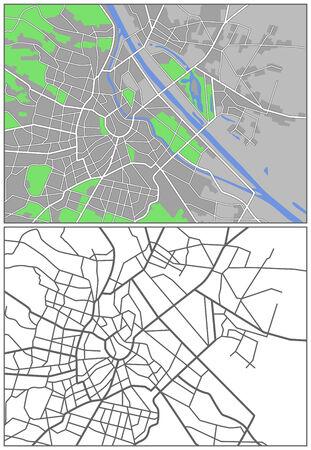 Illustration city map of Vienna