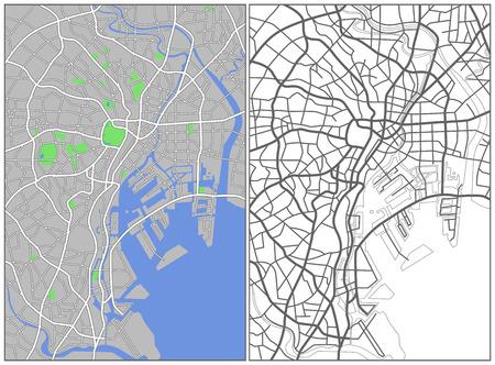 locality: Illustration city map of Tokyo  Illustration