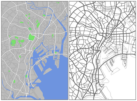 Illustration city map of Tokyo  Illustration