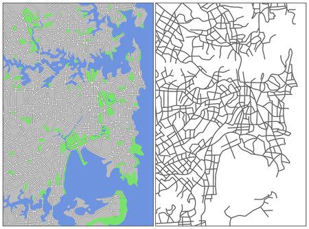Illustration city map of Sydney