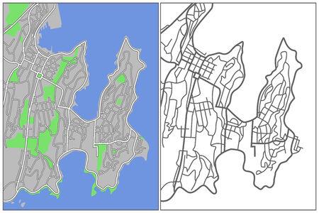 plat: Illustration city map of Wellington  Illustration