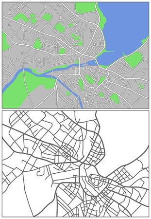 Mapa de la ciudad de ilustración de la población