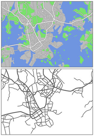 plat: Illustration city map of Helsinki Illustration