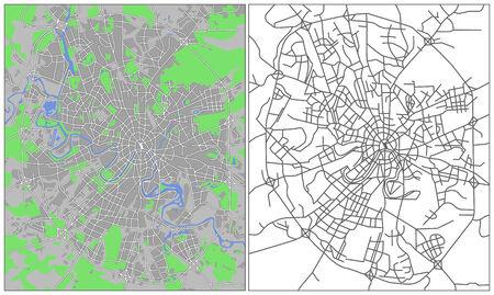 Mapa de la ciudad de ilustración de Moscú  Ilustración de vector