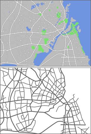plat: Illustration city map of Copenhagen