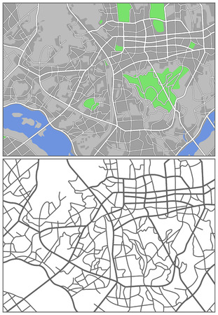 Illustration city map of Seoul  Illustration