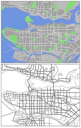 vancouver city: Illustration city map of Vancouver