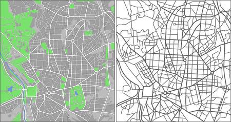 Illustration city map of Madrid Illustration