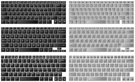push type: three different kinds of desktop keyboard in layered Illustration