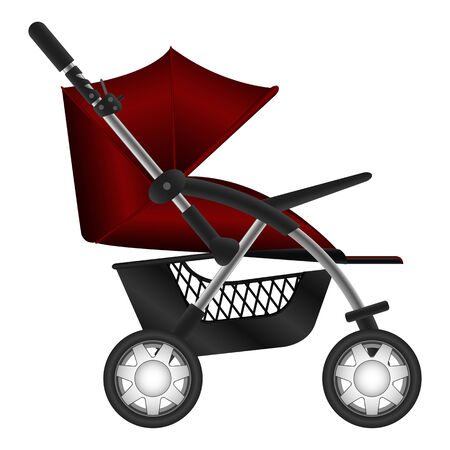 Layered illustration set of baby carriage