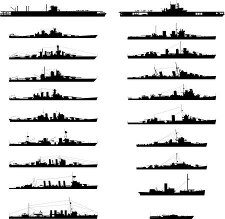 Ilustración de 20 diferentes buques de guerra