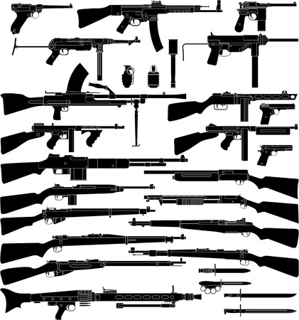 various weapons which mainly be used in World War II. Illustration