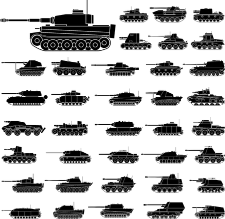 vehicle combat: Layered vector illustration of German Tanks which mainly be used in World War II.