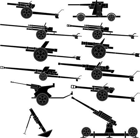 mortero: Ilustraci�n vectorial en capas de artiller�a varios.