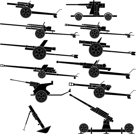 Layered vector illustration of various artillery.