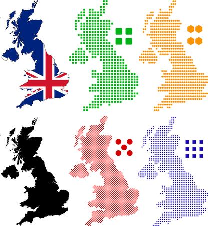 dessin au trait: Carte de pixel stratifi�e et le drapeau du Royaume-Uni