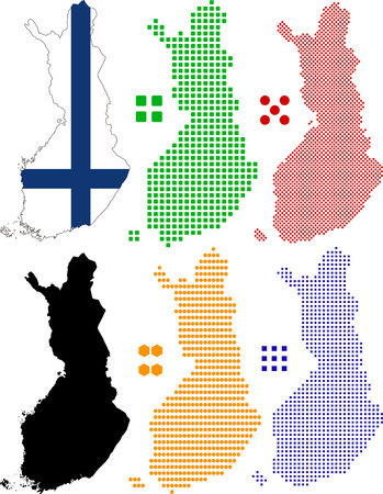 pixelate: Layered  map and flag of Finland.