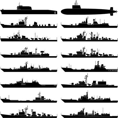Vector illustration of various warships.