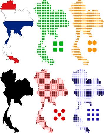 Vector illustration pixel map and flag of Thailand. Иллюстрация
