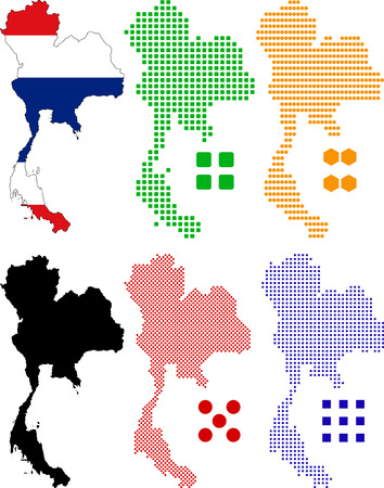 Vector illustration pixel map and flag of Thailand. Illustration