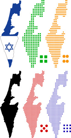 Vector illustration pixel map and flag of Israel. Vector