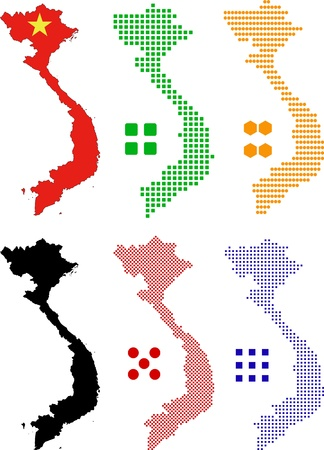 Vector illustration pixel map and flag of Vietnam.
