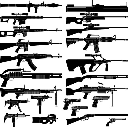 gun: Layered vector illustration of various weapons.