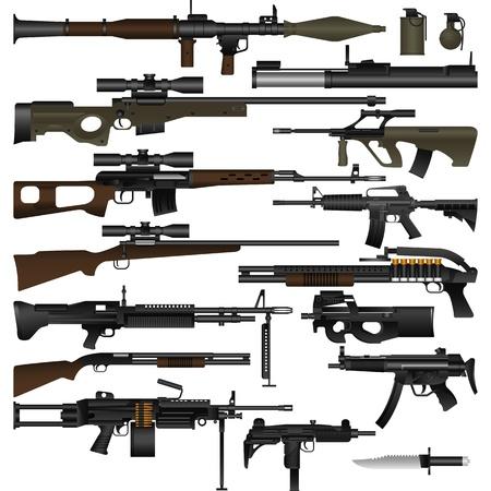 Gelaagde vectorillustratie van verschillende wapens