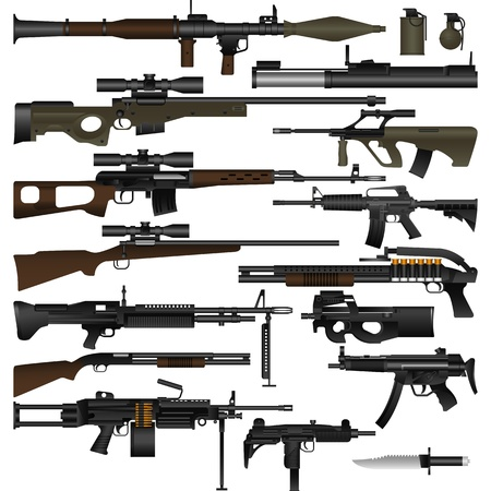 trigger: Layered vector illustration of various weapons Illustration