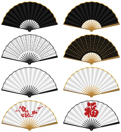 folding: Layered vector illustration of various Chinese traditional folding fans.