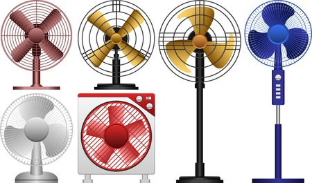 electric grid: different Electric Fans Illustration