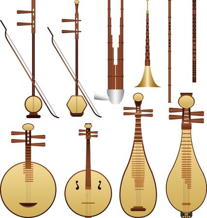geigen: Layer-Vektor-Illustration von chinesischen Musikinstrumenten.