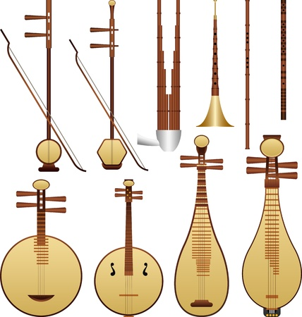 flute instrument: Layered vector illustration of Chinese music instruments.