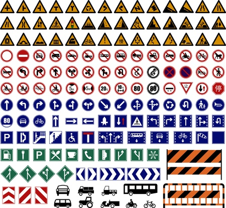 hundreds Traffic Sign collections. Stock Vector - 9673983