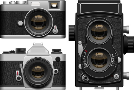 shutter: Layered vector illustration of three kinds of old cameras. Illustration