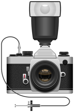 slr camera: Layered vector illustration of SLR Camera.