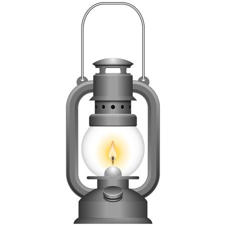 Gelaagde vector illustratie van de oude petroleumlamp. Vector Illustratie
