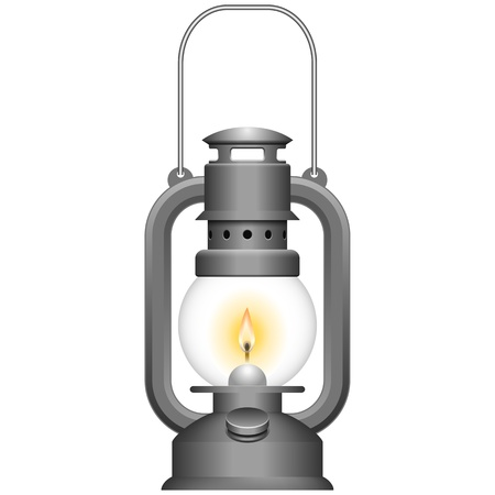 oil tool:  Layered vector illustration of Old Kerosene Lamp. Illustration