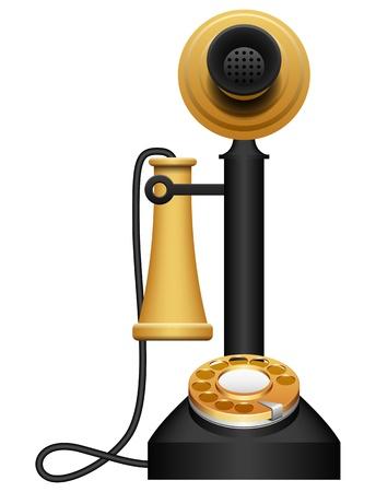 cable telefono: Ilustraci�n con capas vectoriales de tel�fono antiguo. Vectores
