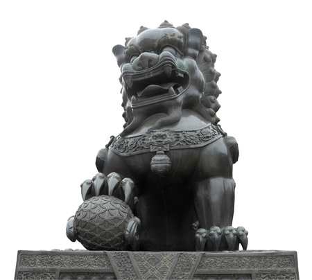 Picture of isolated Chinese traditional lion sculpture   photo