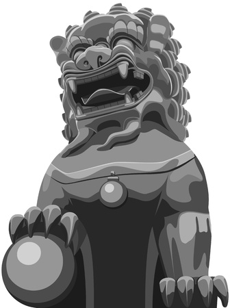 gargoyle: Illustration vector of Chinese traditional lion pattern.