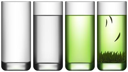 Layered Vektor-Illustration von leeren Glas, ein Glas Wasser und ein Glas grünen Tee