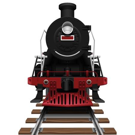ferrocarril: Ilustración vectorial capas de la locomotora de vapor con fondo blanco