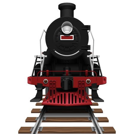 steam train: Layered vector illustration of steam locomotive with white background