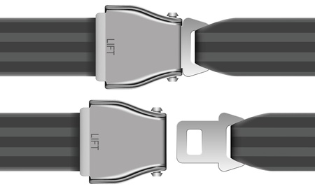 belt buckle: Layered vector illustration of seat belt which be used at airplane